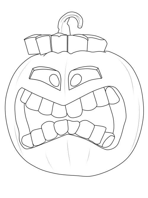 Kostenlose Malvorlage Halloween Kürbis-Fratze ausmalen