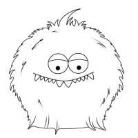 Kostenlose Malvorlage Halloween Pelziges Monster zum Ausmalen