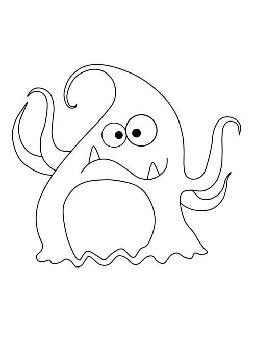 Kostenlose Malvorlage Halloween Tentakel Monster zum Ausmalen