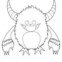 Kostenlose Malvorlage Halloween Gehörntes Monster zum ...