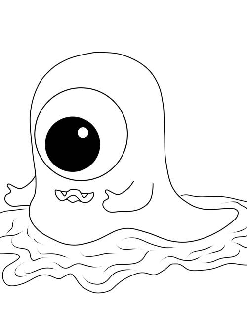 Kostenlose Malvorlage Halloween Einugiges Monster Zum