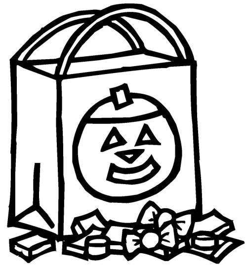 Kostenlose Malvorlage Halloween: Süßigkeiten-Tüte zum Ausmalen