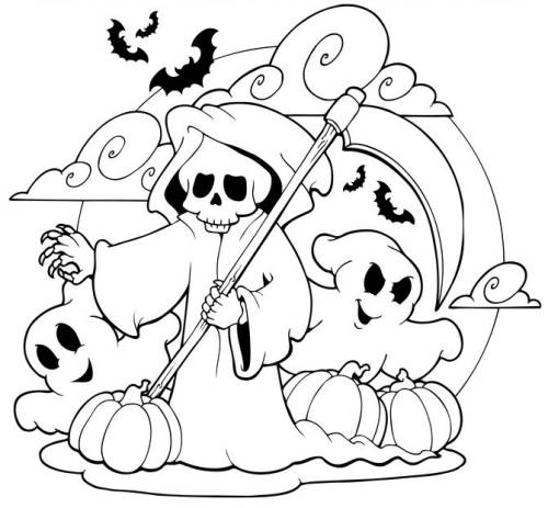 Kostenlose Malvorlage Halloween: Sensenmann und Gespenster