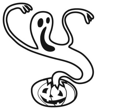 Kostenlose Malvorlage Halloween Kürbis-Geist zum Ausmalen