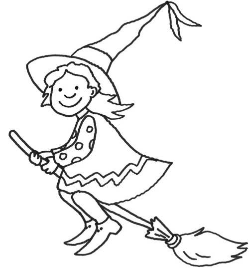 Kostenlose Malvorlage Halloween Hexe auf ihrem Besen zum