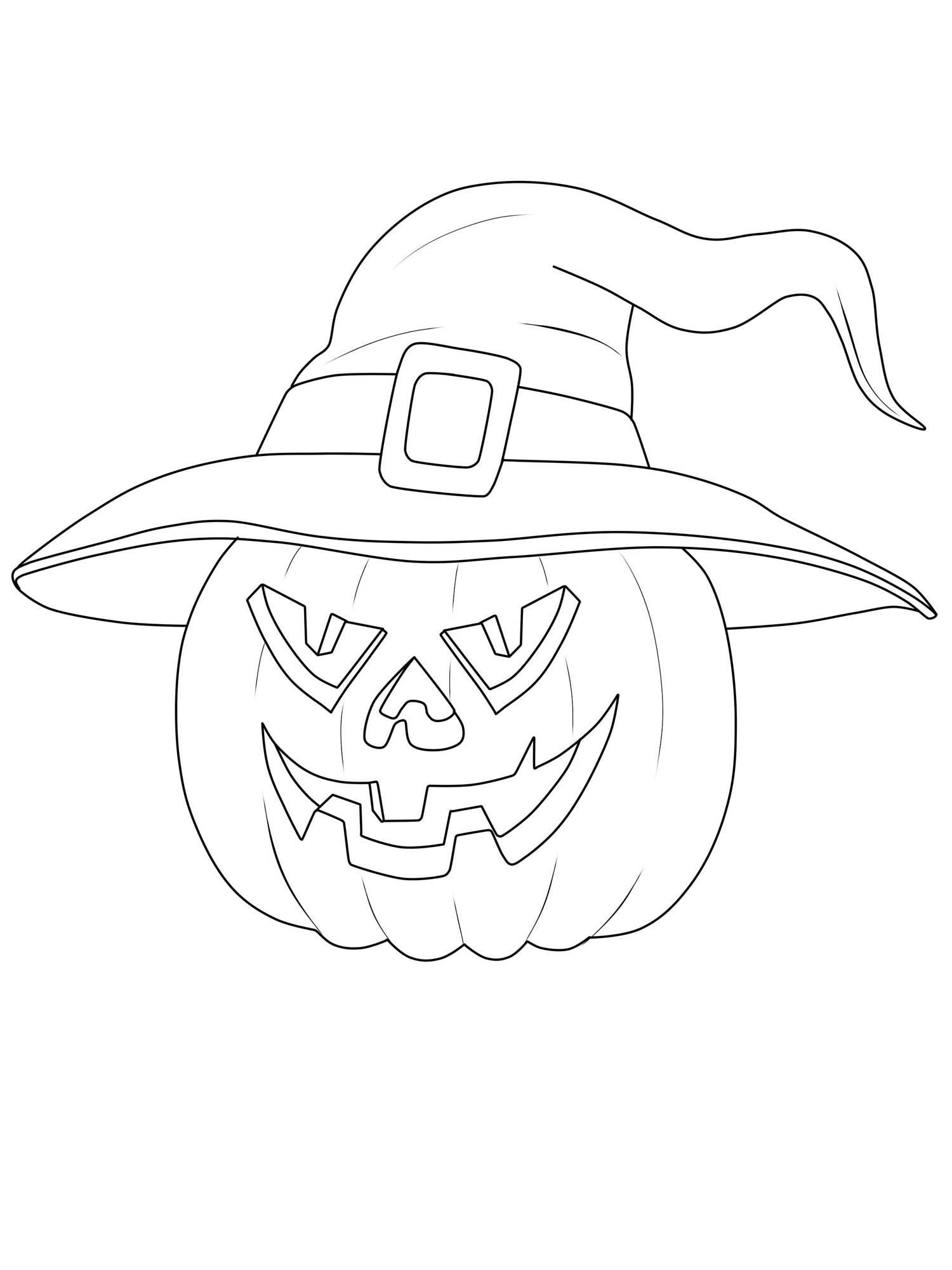 Kostenlose Malvorlage Halloween Kürbis-Hexe ausmalen zum