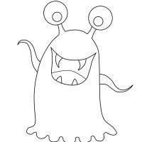 Ausmalbild Halloween Glupschaugen Monster kostenlos ...