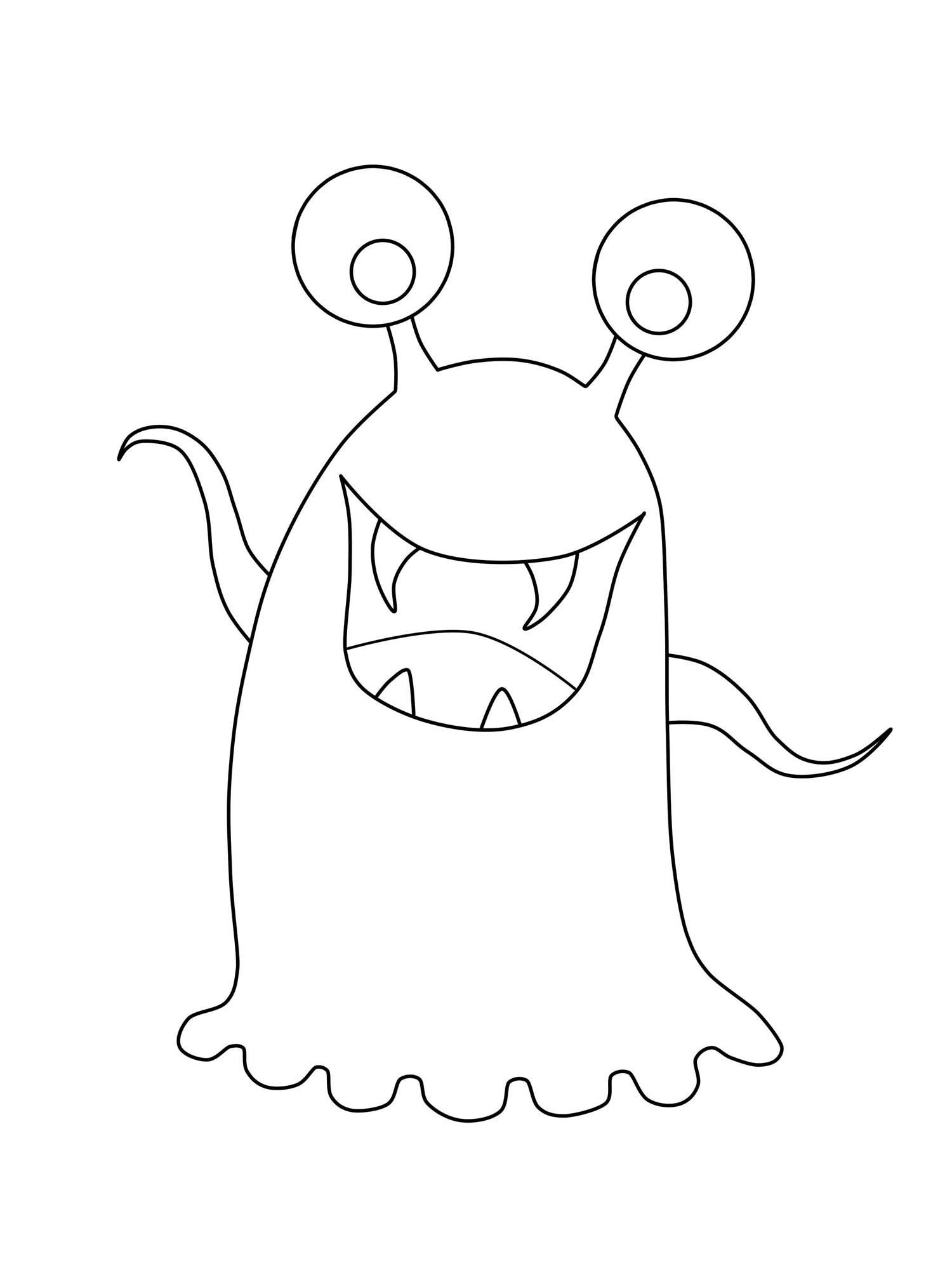 Kostenlose Malvorlage Halloween Glupschaugen Monster zum ...