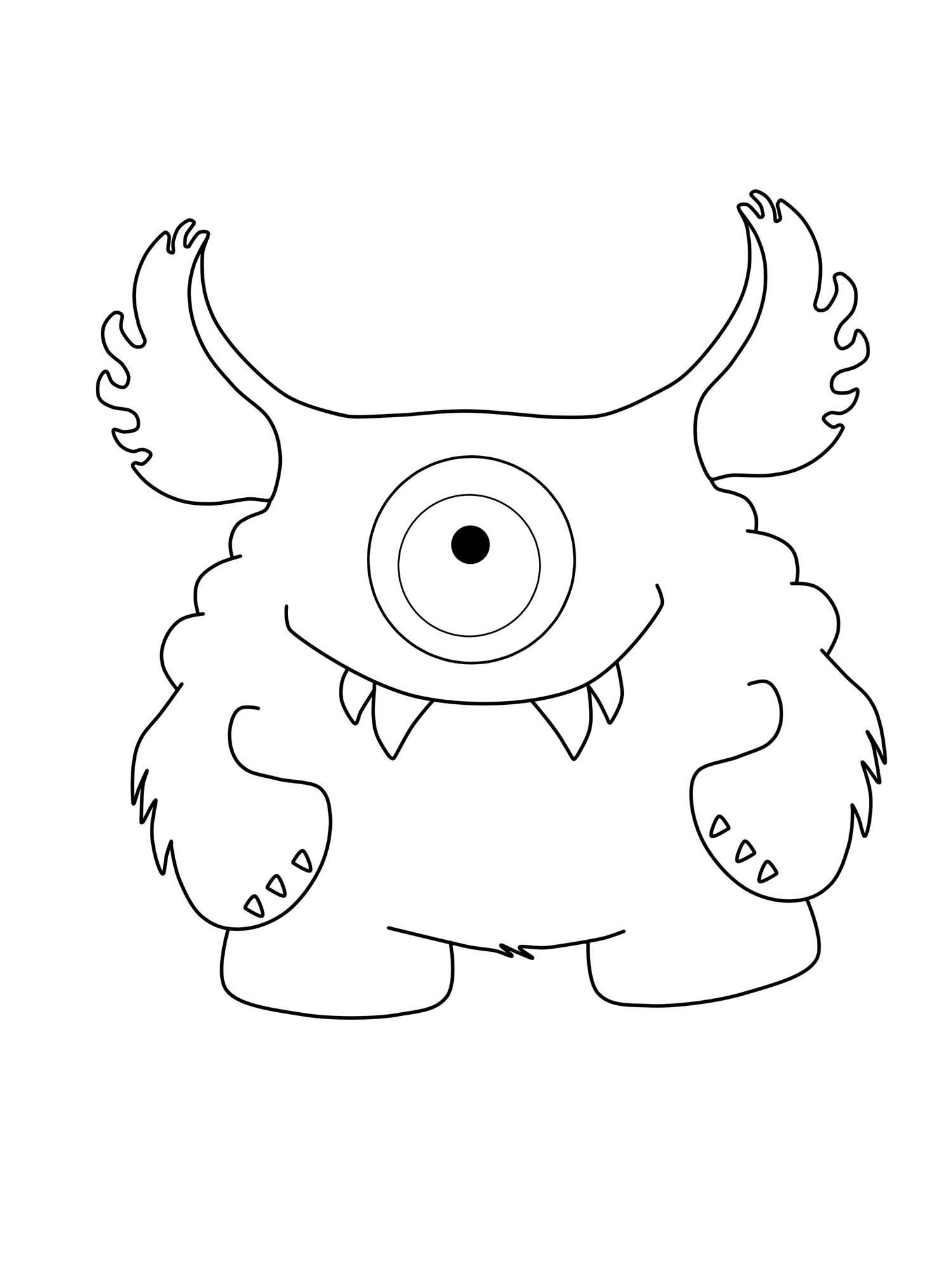 Ausmalbild Halloween Einäugiges Monster mit großen Ohrern