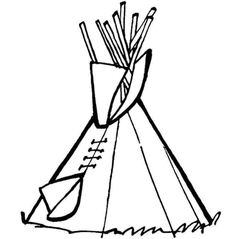 Ausmalbild Cowboys & Indianer Tipi kostenlos ausdrucken