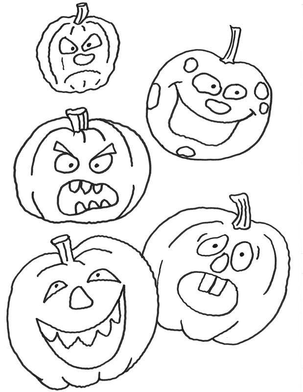 Kostenlose Malvorlage Halloween Verschiedene Kürbisse zum