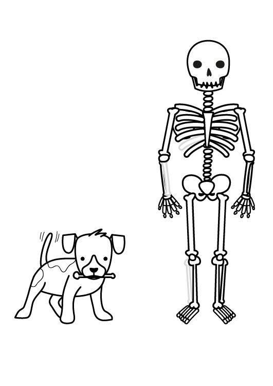 Kostenlose Malvorlage Halloween Skelett und Hund ausmalen