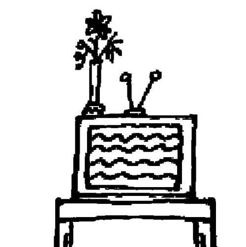 Kostenlose Malvorlage Menschen und ihr Zuhause Fernseher