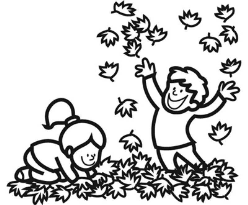 Ausmalbild Herbst Kinder machen eine Laubschlacht