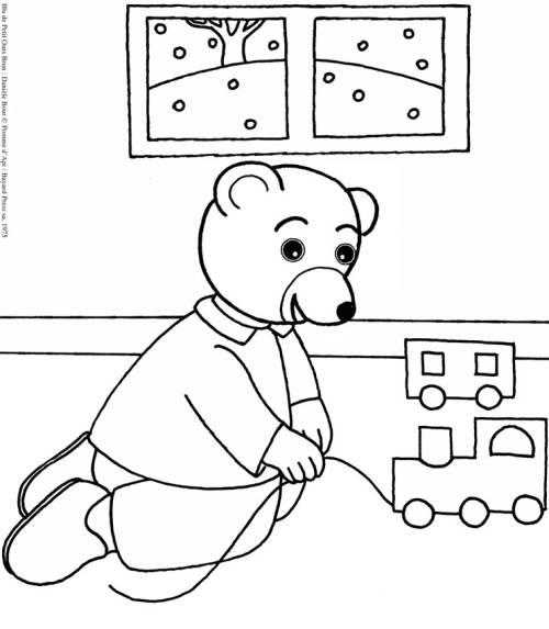 Kostenlose Malvorlage SamSam brauner Bär spielt zum Ausmalen