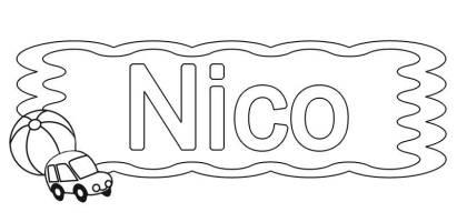 Kostenlose Malvorlage Beliebte Jungennamen Vorname Nico ...