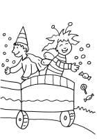 Ausmalbild Karneval, Fasching, Fastnacht Kinder auf dem ...