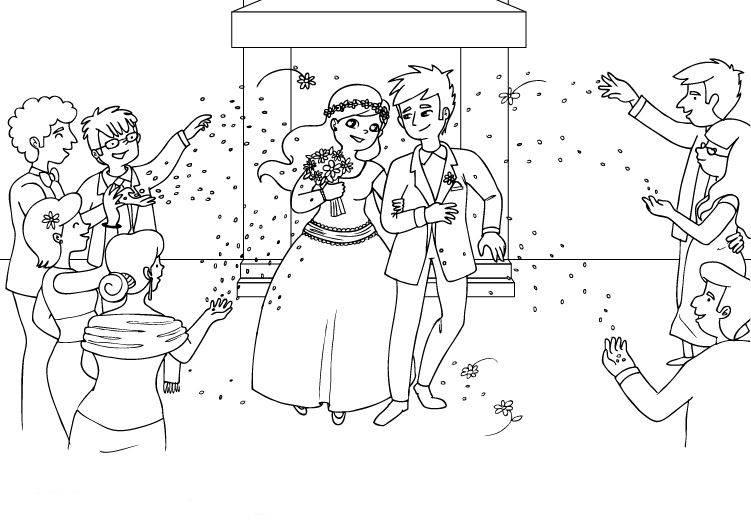Ausmalbild Hochzeit und Liebe Hochzeitspaar ausmalen