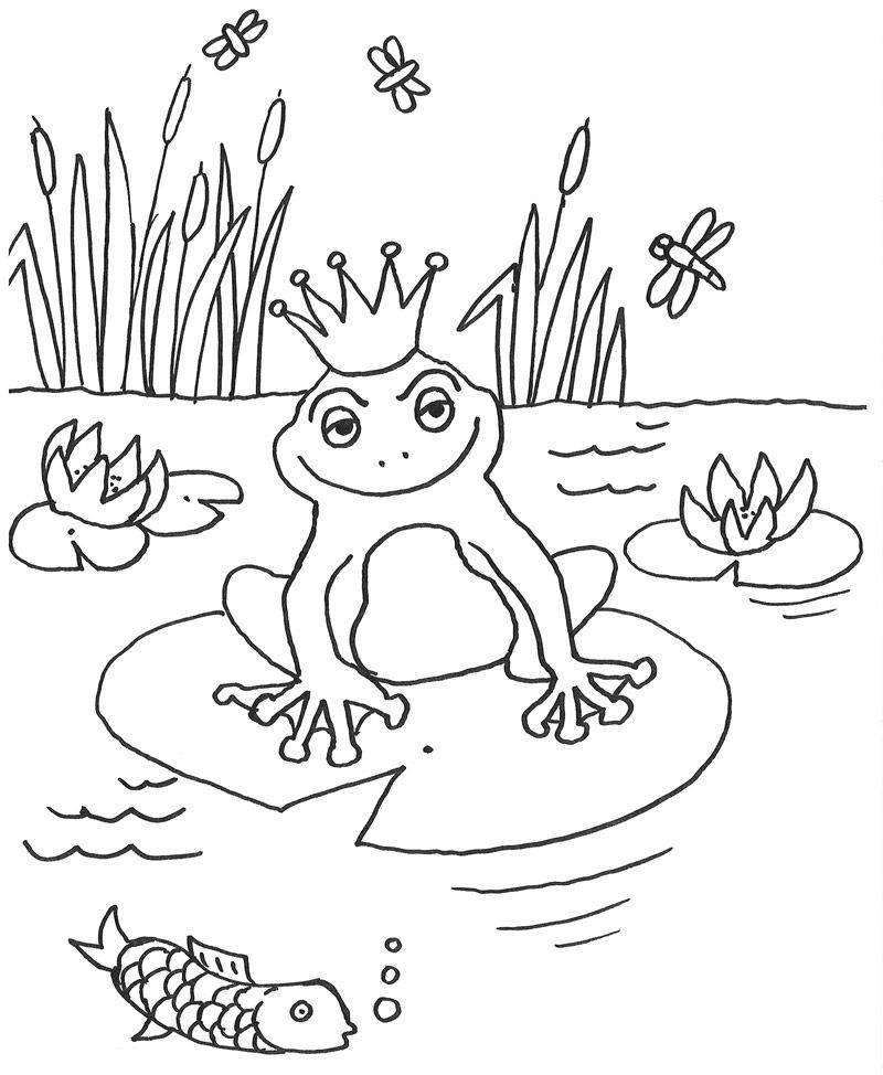 Kostenlose Malvorlage Märchen Froschkönig zum Ausmalen