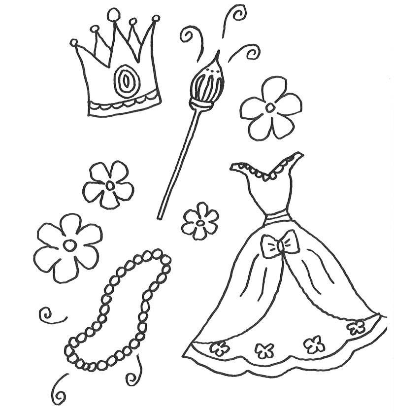 Kostenlose Malvorlage Prinzessin Kleidung und Schmuck