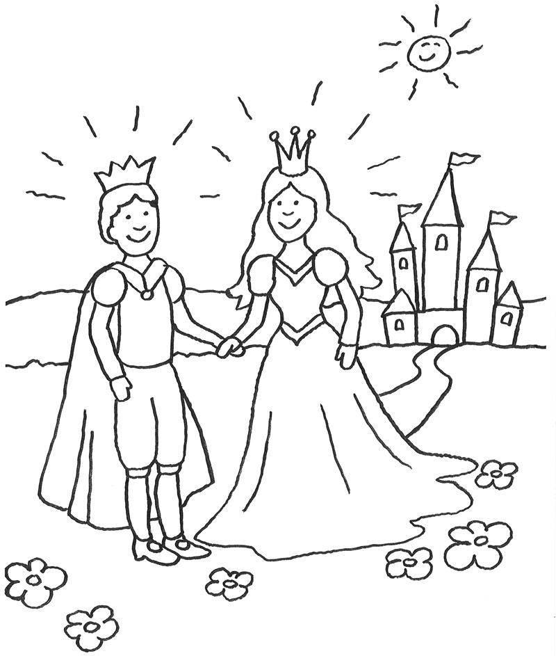 Kostenlose Malvorlage Prinzessin Prinzessin mit Prinz vor