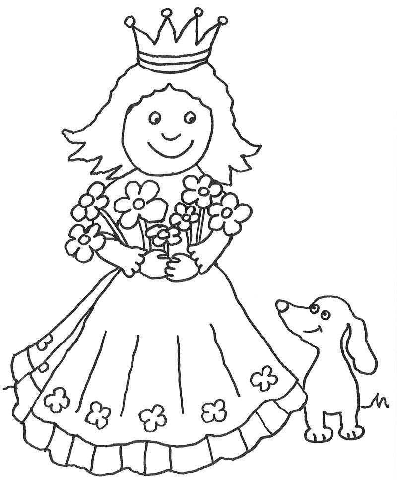 Kostenlose Malvorlage Prinzessin Kleine Prinzessin mit