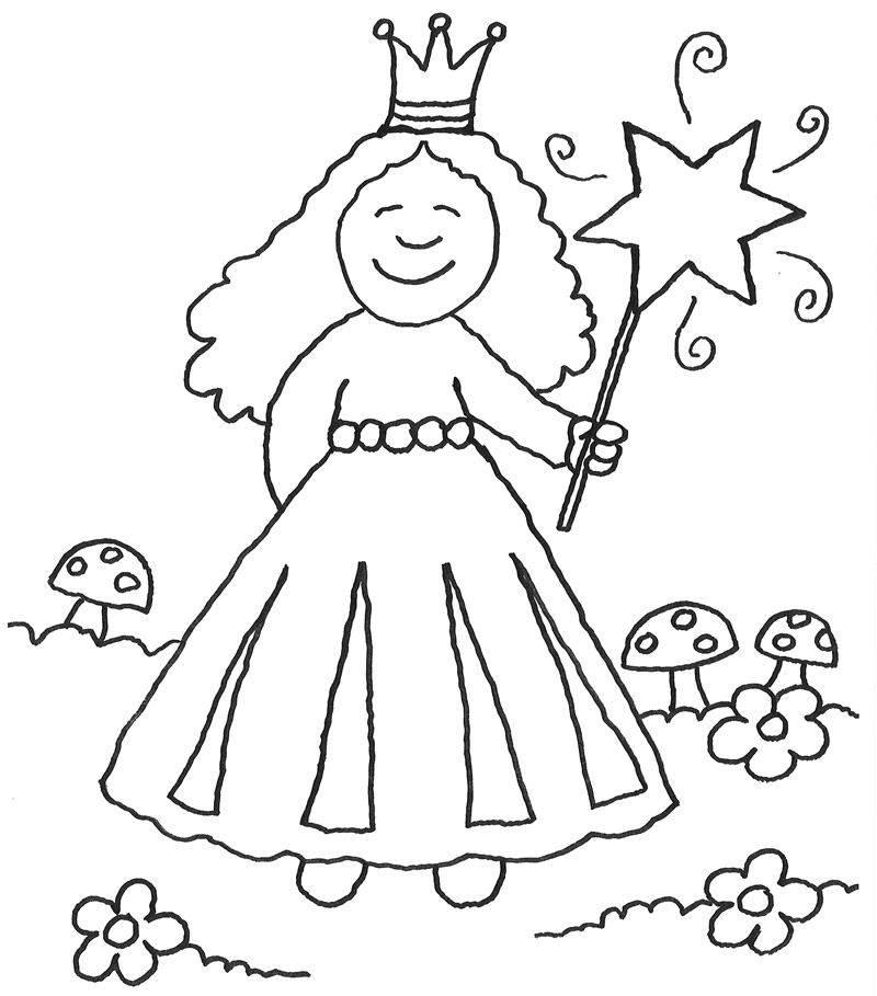 Kostenlose Malvorlage Prinzessin Prinzessin zaubert zum