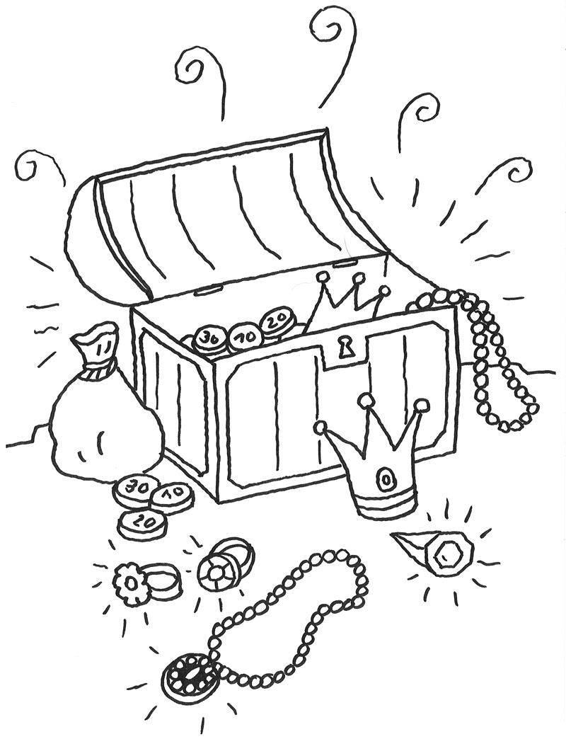 Kostenlose Malvorlage Märchen Schatzkiste zum Ausmalen