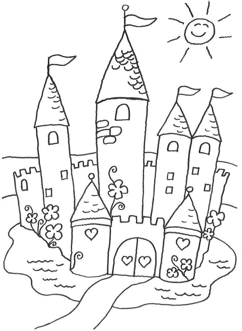 Kostenlose Malvorlage Prinzessin Märchenschloss zum Ausmalen