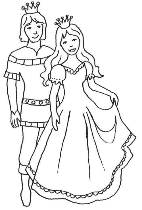 Kostenlose Malvorlage Prinzessin Schöner Prinz mit seiner