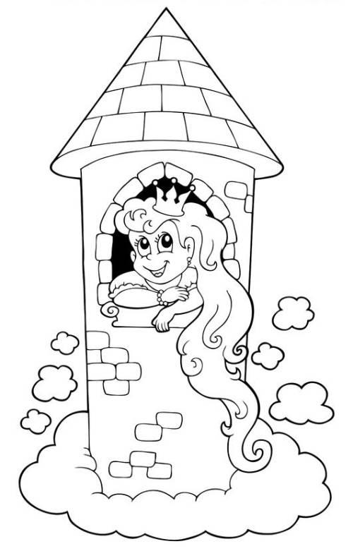 Kostenlose Malvorlage Märchen Rapunzel im Turm zum Ausmalen