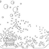 Ausmalbild Malen nach Zahlen Elefant mit Seifenblasen ...