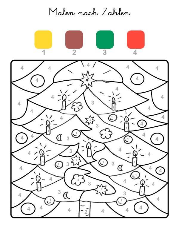 Malvorlage Weihnachtsbaum.Kostenlose Malvorlage Malen Nach Zahlen Weihnachtsbaum Auto