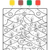 Ausmalbild Malen nach Zahlen Weihnachtsbaum ausmalen ...