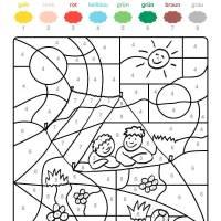Ausmalbild Malen nach Zahlen Zwei Kinder ausmalen ...