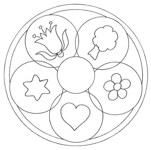 Kostenlose Malvorlage Mandalas Mandala Natur und Liebe