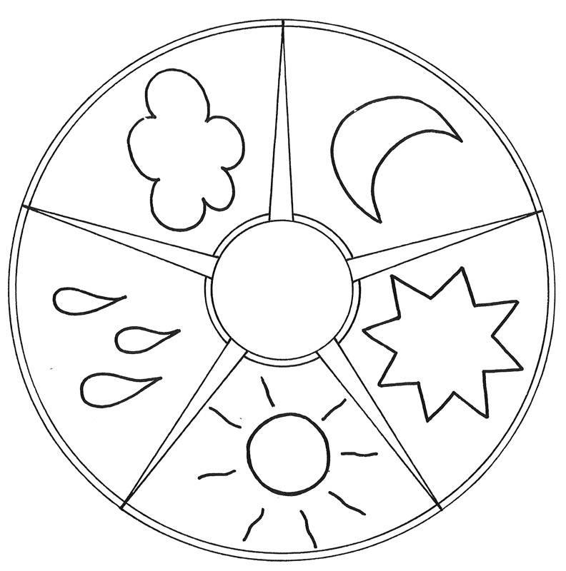 Ausmalbild Mandalas Mandala Himmel und Wetter kostenlos