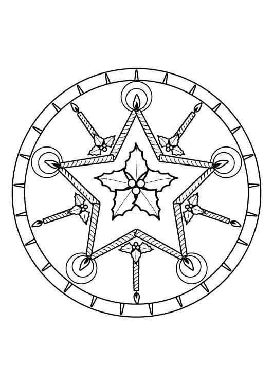 Kostenlose Malvorlage Mandalas Weihnachts-Mandala zum