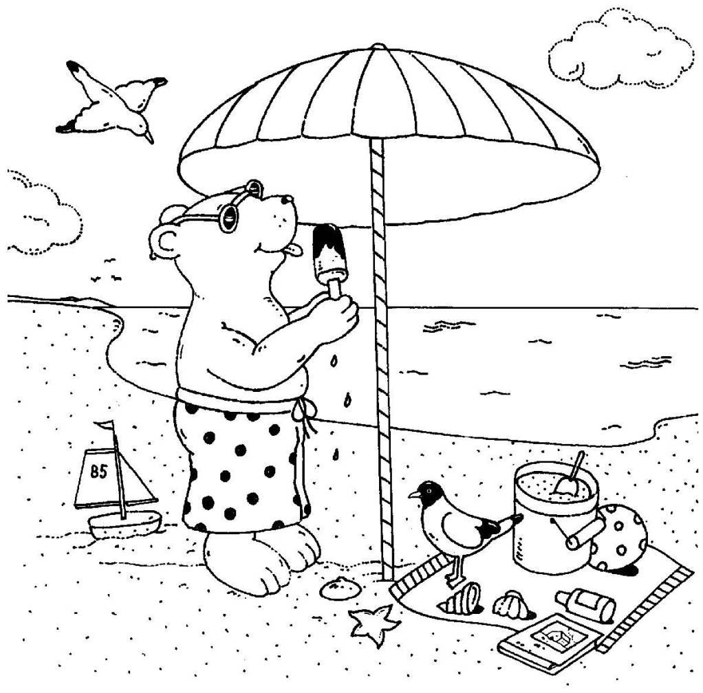 Kostenlose Malvorlage Urlaub und Reisen: Bär isst Eis am ...