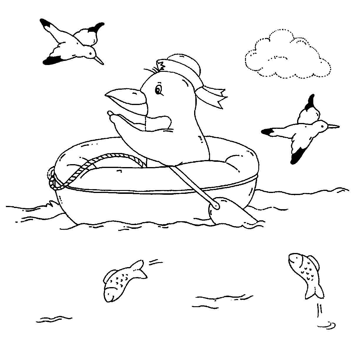 Kostenlose Malvorlage Vögel Pinguin im Schlauchboot zum