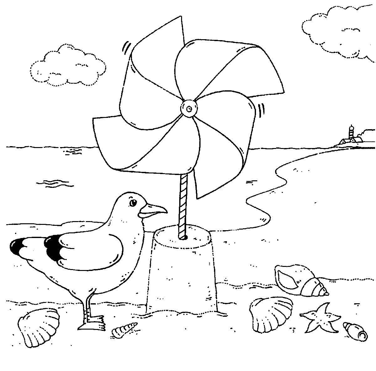 Kostenlose Malvorlage Vögel Möwe und Windrad zum Ausmalen