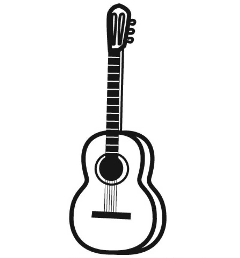 Kostenlose Malvorlage Musik Gitarre zum Ausmalen