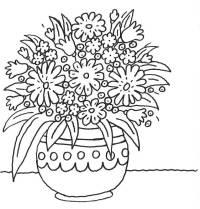 Ausmalbild Muttertag: Blumentopf mit vielen Blumen ...