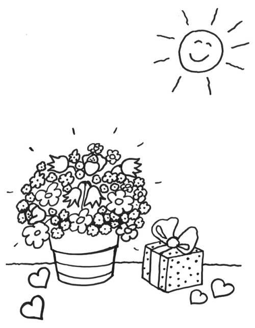 Malvorlage Blumentopf