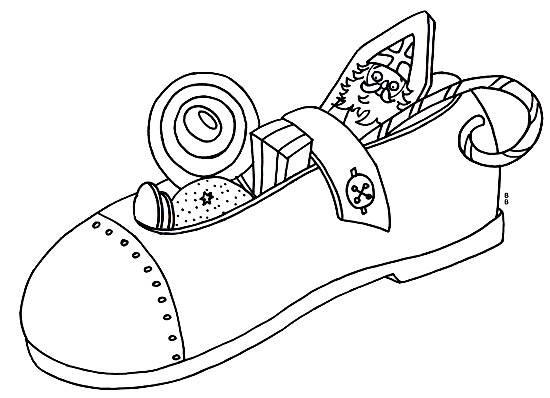 Kostenlose Malvorlage Nikolaus gefüllter Schuh zum Ausmalen