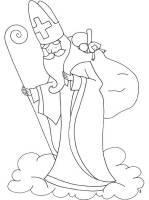 Ausmalbild Nikolaus Heiliger Nikolaus auf einer Wolke ...