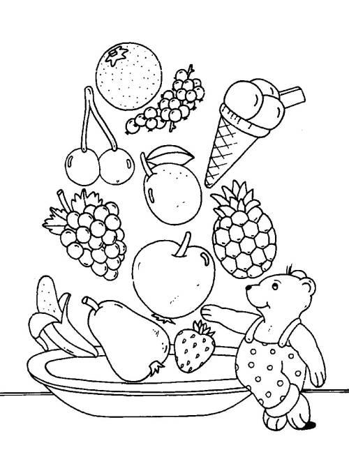 Kostenlose Malvorlage Obst und Gemüse Obstsalat zum Ausmalen