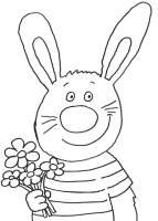 Ausmalbild Ostern Osterhase mit Blumenstrauß kostenlos ...