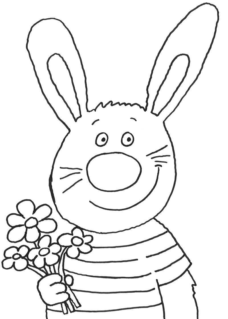 Kostenlose Malvorlage Ostern Osterhase mit Blumenstrauß