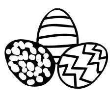 Kostenlose Malvorlage Ostern Drei Ostereier zum Ausmalen